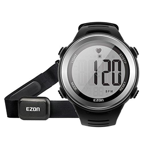 EZON T007 Herren Sport Digitaluhr Outdoor Laufen Armbanduhr mit Brustgurt Herzfrequenz Monitor Alarm Stoppuhr (Schwarz)