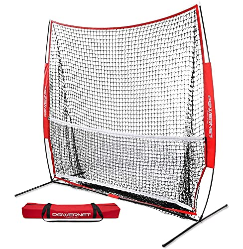 PowerNet 7x7 ft Portable Tennis Net and Pickleball Trainer | Multi-Sport Trainer | 49 sqft of Hitting Area | Net and Frame | Driveway, Indoor, Outdoor, Street, Backyard | EZ Setup Collapsible