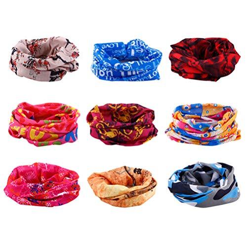 BESPORTBLE 9Pcs Magic Tube Bandana Outdoor Headwear Bandana Sports Scarf Tube UV Cubierta Facial para Entrenamiento Yoga Correr Senderismo Montar a Caballo (Color Aleatorio)