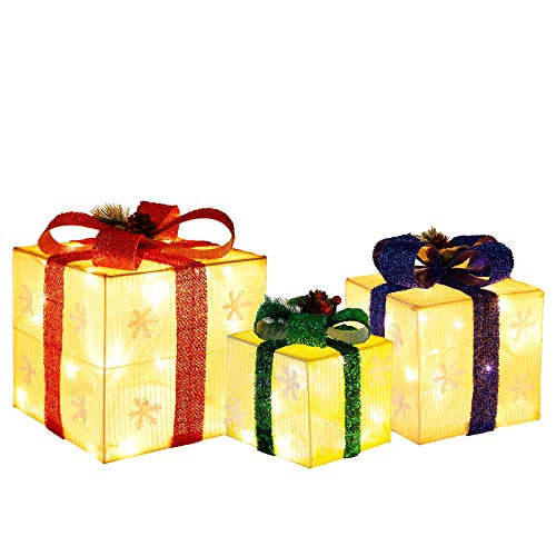 Optimisland Set of 3 Christmas Light up Gift Boxes, Lighted Boxes with Warm White LED Lights, Small, Medium and Large, Perfect for Indoor Outdoor Home Decorations