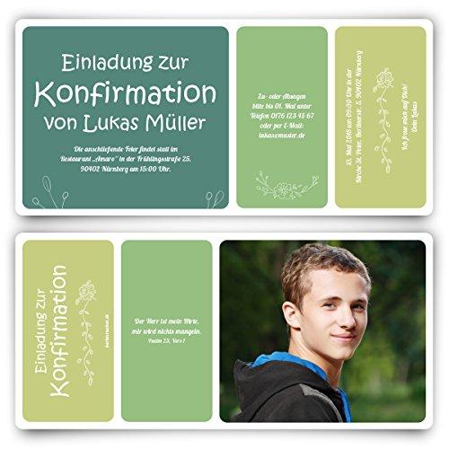 20 x Konfirmation Einladungskarten Konfirmationseinladungen Konfirmationskarten - Blumenabriss