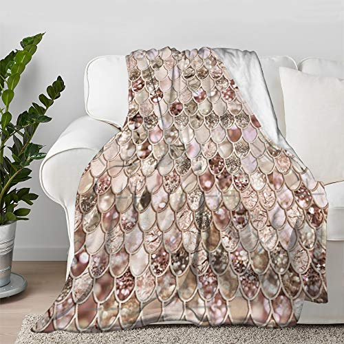 """Rose Blush Mermaid Glitter Scales Throw Blanket Quilt Bedspread Flannel Ultra Soft Microfiber Luxurious Warm Cozy Bed Camping Couch Home Decor (S 50""""X40"""" Inch for Kid)"""