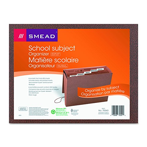 Smead Subject File with Flap and Cord Closure, 6 Pockets, Letter Size, Redrope (70540),LEATHER-LIKE