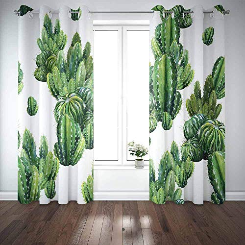 N / A Long Window Curtains,Door Window Curtain Pattern Cacti Watercolor Cactus Can be Used as Print Home Garden Window Blackout Curtains for Family Friends Kids 2 Panels Windows Curtains