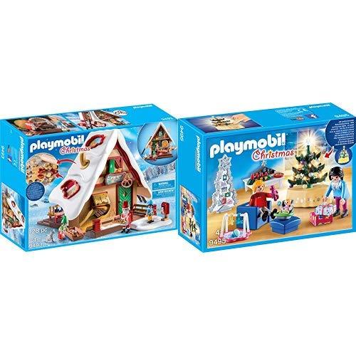 PLAYMOBIL 9493 Spielzeug-Weihnachtsbäckerei mit Plätzchenformen, Unisex-Kinder &  9495 Spielzeug-Weihnachtliches Wohnzimmer, Unisex-Kinder