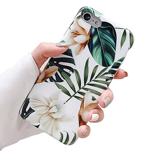 ooooops iPhone 8 Case,7 Case,SE Case for Girls, Green Leaves with White&Brown Flower Pattern Design, Slim Fit Clear Bumper Soft Full-Body Protective Cover Case for iPhone 7/8/SE 4.7''(Leaves&Flowers)