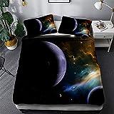 Timiany Ropa De Cama 3D Galaxy Microfibra Edredón 155 × 200 Juego De Cama 3 Piezas, Fundas Nórdicas con Cremallera Y 2 Fundas De Almohada 50x75cm (Sistema Solar,135x200+50x75)