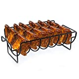 BBQ WINJ BBQ Roast Rack,Non-Stick Barbecue Rib and Roast Rack, Grilling basket , Meat Turkey Chickens with 2 Handle,for Grilling Camping, Picnics,Party.