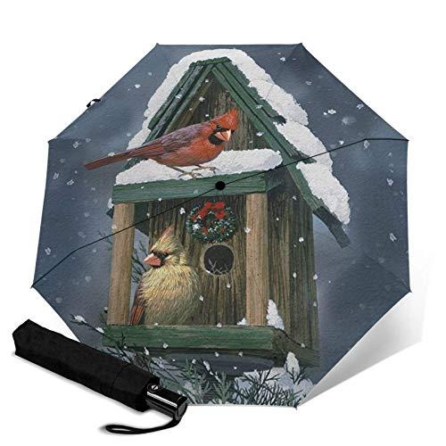 WALL-8-CC Cardinals In Snow Vogelhaus Winter Vogel Weihnachten Regenkleidung Regenschirm, Automatisch Dreifach Faltbarer Regenschirm