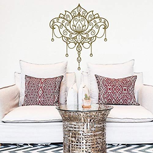 Calcomanía de pared de loto-Mandala calcomanía de vinilo para pared patrón marroquí decoración de dormitorio bohemio pegatina de pared otro color 42x47cm