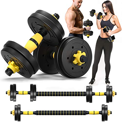 MontSprit Adjustable Weights Dumbbells Set with Connecting Rod Used as Barbell Weight Set for Exercises Fitness, Home Gym Weights for Men and Women