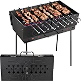 Charcoal Grill for 10 Skewers - Portable Barbecue - Stainless Steel Kabob Camp Grills - Black Foldable Mangal - Kebab Shish - BBQ for EDC Picnic Outdoor Cooking Camping Hiking