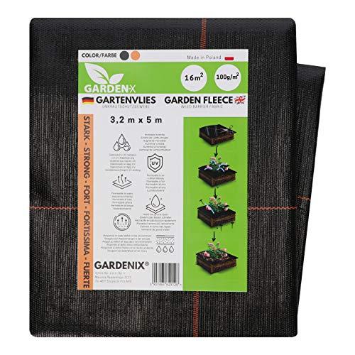 GARDENIX® 16 m² Anti Unkrautvlies 100g/m² ‒ Gartenvlies Sandkastenvlies Unterbodengewebe, Hohe UV-Stabilisierung, reißfest Schwarz (3,2m x 5m)