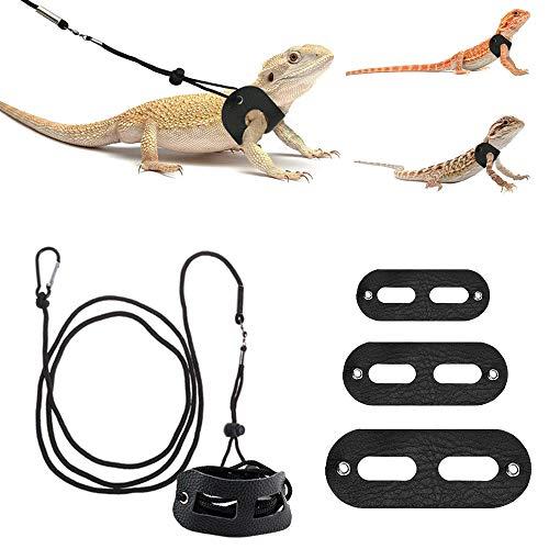 ASOCEA 3 piezas ajustables de cuero suave de lagarto de dragón barbudo y correa de cuero suave para exteriores para anfibios, lagarto camaleón, guana y otros animales pequeños de mascotas (S,M, L)