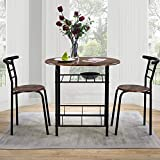 Dining Table and Chairs Set Kitchen Table Furniture Dining Set Solid Wooden Table & Metal Legs (Rustic Brown Table and 2*Rustic Brown Chairs)