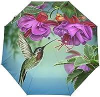 たっての熱花と小鳥ハチドリ防風トラベル傘オートオープンクローズ3折りたたみ強力耐久性コンパクトレイン傘UVプロテクションポータブル軽量簡単持ち運び