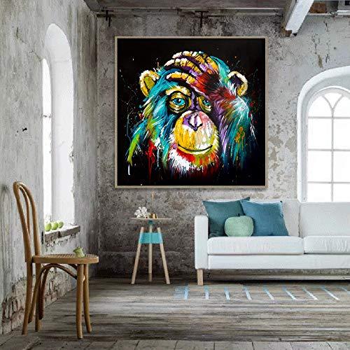 Aquarelle Pensée Singe Mur Art Toile Impressions Abstraites Animaux Pop Art Toile Peintures Mur Décor Photos Pour Chambre D'enfant 70x70cm sans cadre