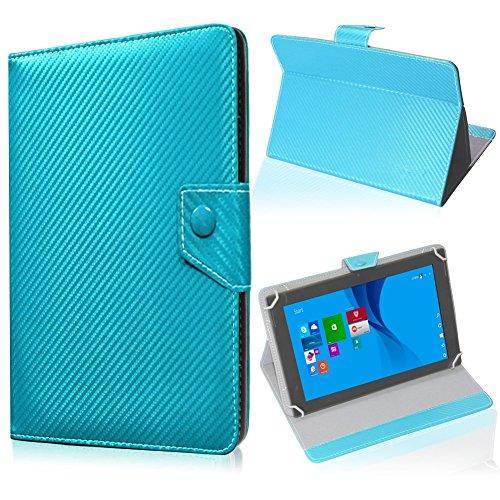 UC-Express Tablet Tasche für Blaupunkt Endeavour 101M Hülle Schutzhülle Carbon Hülle Cover, Farben:Türkis