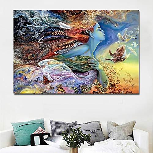 Puzzle 1000 piezas Pintura abstracta obra de arte hermosa niña con imagen de pájaro mariposa puzzle 1000 piezas adultos Rompecabezas de juguete de descompresión intelectual ed50x75cm(20x30inch)