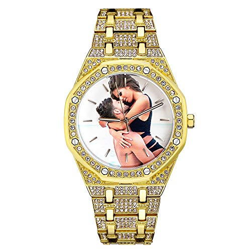 Dandelion-EU Reloj de Foto Personalizado Personalizado, Reloj de Cristal Unisex Hombre/Mujer Reloj Bling Iced-out Reloj analógico de Cuarzo de Diamantes de Moda