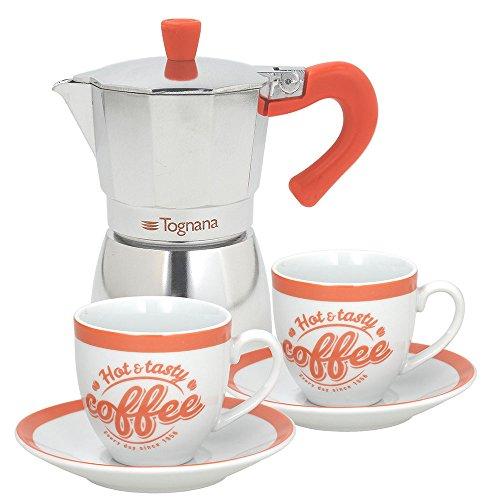 Tognana Coffee Time Set Espressokocher 2Tassen, Aluminium, Mehrfarbig grün/orange/türkis