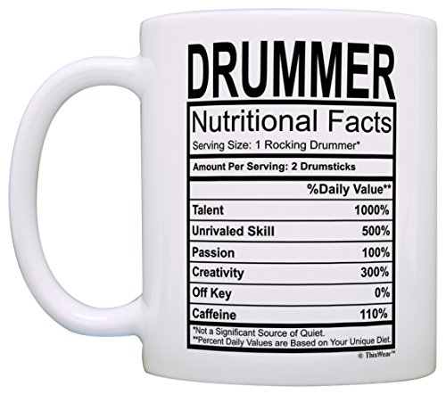 Product Image 4: Drummer Gifts Drummer Nutritional Facts Label Percussion Drum Player Gift Coffee Mug Tea Cup White