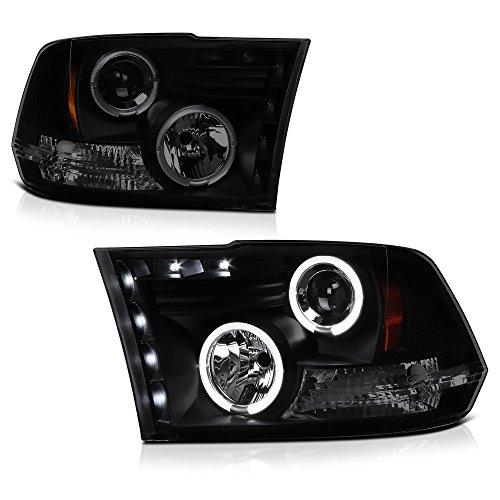 VIPMOTOZ LED Halo Ring Smoke Lens Black Projector Headlight Lamp Assembly For 2009-2018 Dodge RAM 1500 2500 3500 Pickup Truck, Driver & Passenger Side