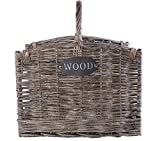 Grey Washed Wicker Fireside Heavy Duty Log Basket