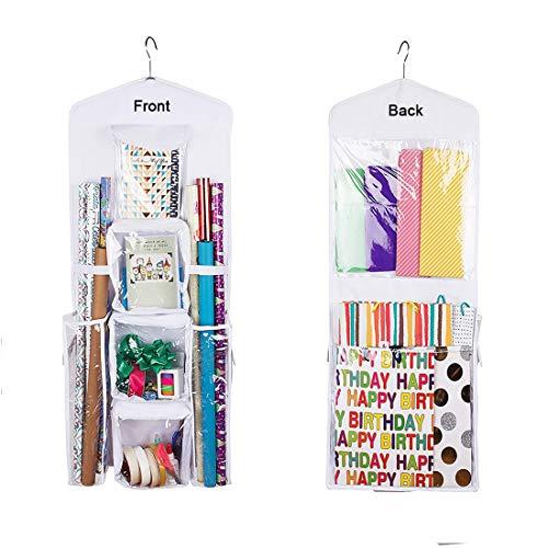 LXTaoler Doppelseitige hängende Geschenktüte zum Aufhängen, Geschenkpapier, Aufbewahrung, Organizer, Tasche mit mehreren Taschen, 100 x 43 cm, transparente PVC-Tasche (weiß)