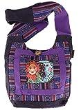 Guru-Shop Schultertasche, Hippie Tasche, Goa Schulterbeutel mit Sonne, Mond - Violett, Herren/Damen, Baumwolle, Size:One Size, 30x30x8 cm, Bunter Stoffbeutel