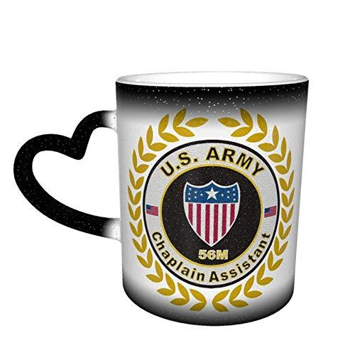 Hdadwy US Army Mos 56m Asistente de capellán que cambia de color Taza de cielo estrellado Taza mágica de café en forma de corazón