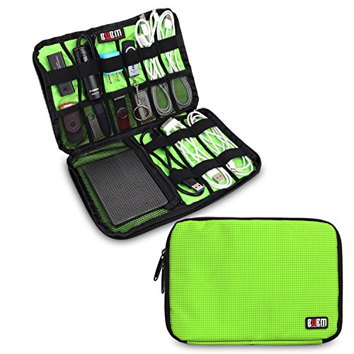 BUBM Electronics Accessories Carry On Bag/Cable Organizer/USB Drive Shuttle/Hard Drive Case-Large (Green)