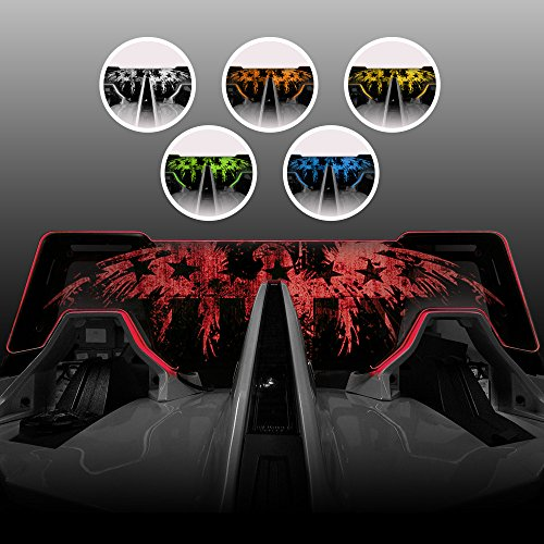Windrestrictor Red LED Illuminating Wind Deflector for 2014-Present Polaris Slingshot Convertible with Laser Etched American Eagle Graphic