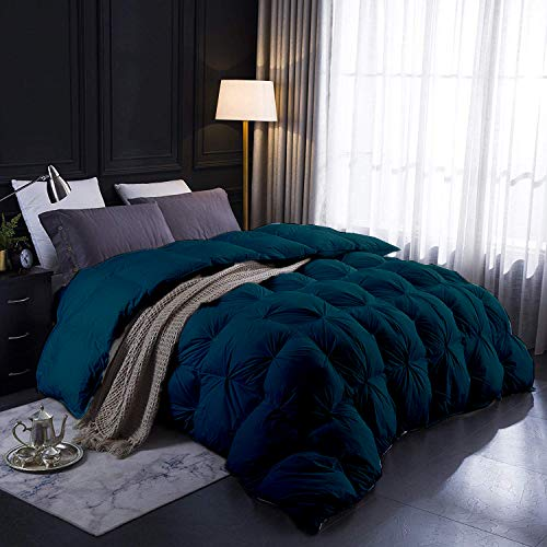 """9.8 Newton All-Season Goose Down Pinch Pleated Comforter 100% Egyptian Cotton 1000-TC Corner Tebs Hypoallergenic Wrinkle & Fade Resistant Box Pintuck Comforter Set 106""""X92"""" King Size Teal Green Solid"""