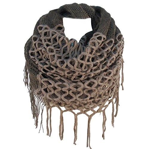 TININNA Hiver Chaud Crochet Tricoté Infinity Boucle Glands Doux Châle écharpe Wrap écharpes pour Les Femmes Kaki