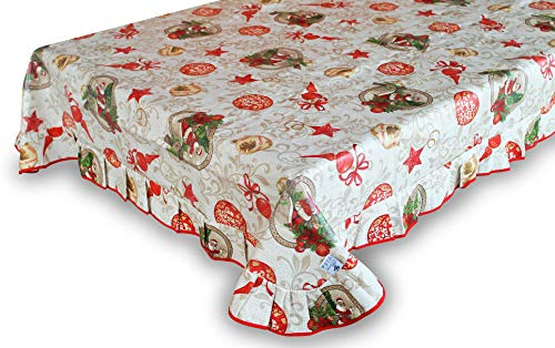 Maratex Tovaglia Plastificata Rettangolare Fantasia Babbo Natale (Varie Misure) (170, 130)