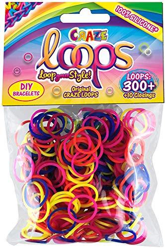 CRAZE Loops Set di 300 Anelli in Silicone per Braccialetto, in Gomma, Mega US, Colori Misti 51116, Multicolore