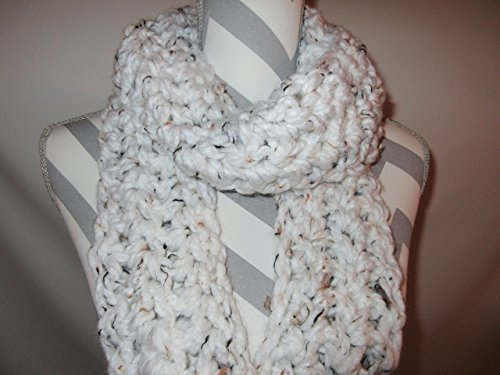 Handmade White Tweed Crocheted Scarf Infinity Cowl Circle Boho Design Scarf by Ladies Fashion One Size Fits All Gift for Her Gift Bag and Ribbon Included