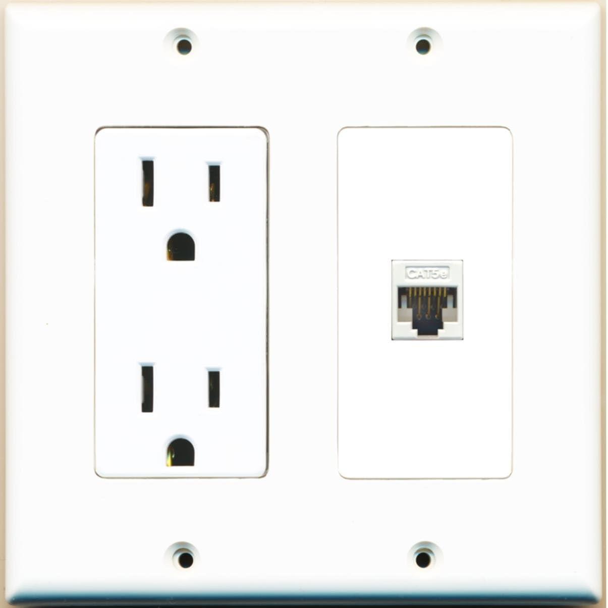 RiteAV - 15 Super intense SALE Max 85% OFF Amp Power Outlet Port Ethernet Decorativ 1 Cat5e and