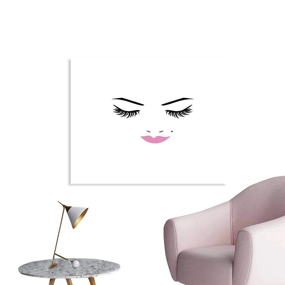 J Chief Sky Eyelash Poster Canvas Prints Closed Eyes Pink Lipstick Glamor Makeup Cosmetics Beauty Feminine Design Wall Decor W32 xL24