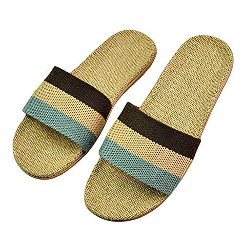 Zapatillas De Lino Sandalias De Interior Para El Hogar De Verano Hombres Mujeres Parejas Unisex (Color : 521SSW Brown, Shoe Size : 37-38)