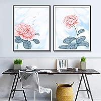 抽象的な水彩花のポスターとプリント現代の壁アートキャンバス絵画の写真リビングルームの家の装飾40x60cm2Pcsフレームレス