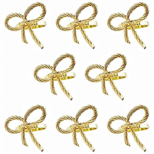 L.J.JZDY Servilleta 8pcs Anillo de la servilleta de Oro Mariposa de la Mariposa de la Pajarita de la Pajarita para el Hotel Restaurant Family Gatherings Party (Color : Golden, Size : 8pcs)
