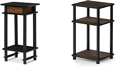 FURINNO 17017 Turn-N-Tube End Table, 1-Pack, Espresso & Just 3-Tier End Table, 1-Pack, Columbia Walnut/Black