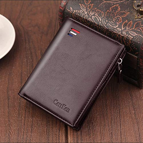 short Men wallets fashion new card purse Multifunction  wallet for male zipper wallet with coin pocket -New Carrken Coffee