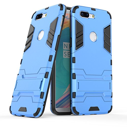 Case for OnePlus 5T (6.01 inch) 2 in 1 Shockproof with Kickstand Feature Hybrid Dual Layer Armor Defender Protective Cover (Blue)