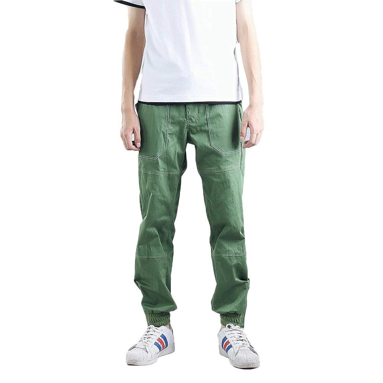 Tiandao メンズファッションシンプルな拘束脚カジュアル非染色ヘアルーズジョギングスポーツフィートカジュアルパンツ