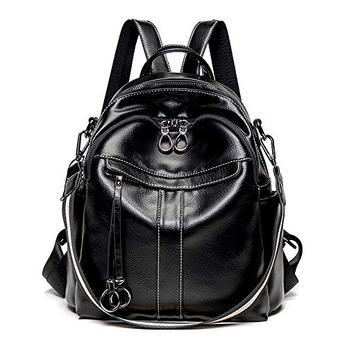 Hanggg Moda antirrobo mochila mujer salvaje retro aceite de cera de cuero mochila multiusos bolsa de viaje de ocio