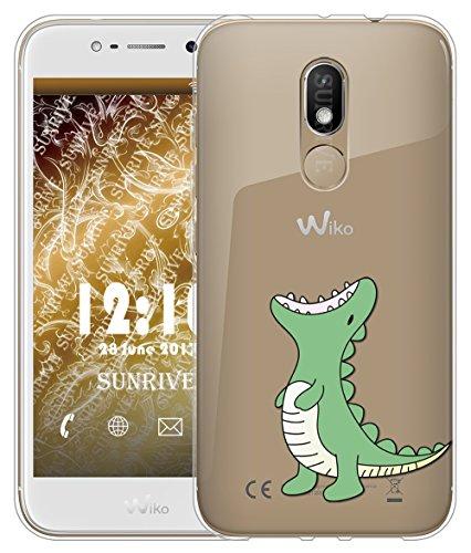 Sunrive Für Wiko Wim Lite Hülle Silikon, Transparent Handyhülle Schutzhülle Etui Hülle Backcover für Wiko Wim Lite 5,0 Zoll(TPU Dinosaurier)+Gratis Universal Eingabestift
