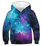 AIDEAONE Niño Niña 3D Galaxia Capucha Sudadera Jersey Suéter con Capucha Pull-Over 8-11 Años